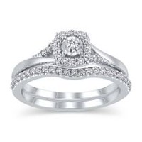 Sterling Silver JK-I2I3 Diamond Bridal Ring Set 050