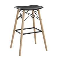 Walker Edison Black Retro Modern Faux Leather Kitchen Barstool