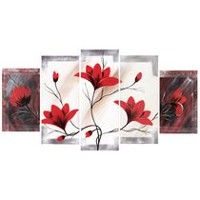 Design Art Red Flower Canvas Wall Art