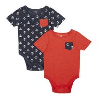 George baby Boys' Short Sleeved Bodysuit, 2 Pack 6-12 months