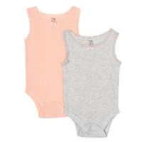George baby Girls' Tank Bodysuit, 2-Pack Coral 12-18 months