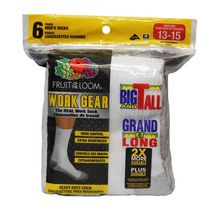 Fruit of the Loom Men's Big & Tall Work Gear Crew Socks - 6 Pairs White