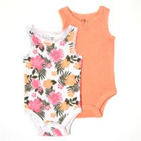 George baby Girls™ Tank Bodysuit; 2-Pack Peach & Flowers 6-12 months