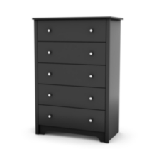 South Shore Vito Collection 5-Drawer Chest Black