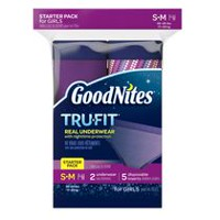 GoodNites Tru-Fit Real Underwear with Nighttime Protection Starter Pack for Girls, S/M 7 count
