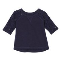 George Toddler Girls' Lace Sleeved Top Blue 4T