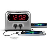 Elgin Digital Alarm Clock with 2 AMP USB Charger Port