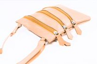 Champs Leather Zipper Sling Bag Tan