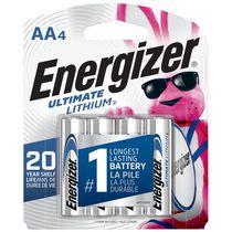 Piles AA Energizer Ultimate Lithium (emballage de 4), piles double A de 1, emballage de 4