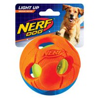 Nerf Bash LED Rubber & TPR Ball Medium Dog Toy