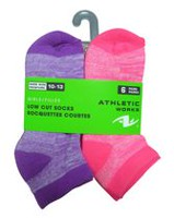 Athletic Works Girls' Low Cut Anklets 6-Pair Socks Neon