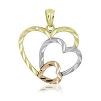 Women's 10KT Yellow, White & Pink Gold Diamond Cut Graduated Open Hearts Charm