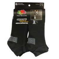Fruit of the Loom Men's Sport Ankle Crew Socks - 6 Pairs Black