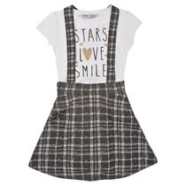 George British Design Girls' Check Overall And T Shirt 6