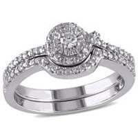 Miabella 0.14 Carat T.W. Diamond Sterling Silver Loop-Style Bridal Set 6