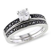 0.63 Carat T.G.W. Created White Sapphire and 0.20 Carat T.W. Black Diamond Sterling Silver Bridal Set 6