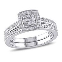 Miabella 0.25 Carat T.W. Diamond Sterling Silver Halo Bridal Set 5