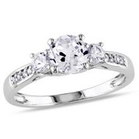 Miabella 1.33 Carat T.G.W. Created White Sapphire and Diamond Accent 10 K White Gold Three-Stone Engagement Ring 8