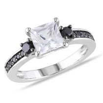 1.33 Carat T.G.W. Created White Sapphire and 0.33 Carat T.W. Black Diamond Sterling Silver Engagement Ring 4.5