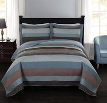 hometrends Stripe Jacquard Teal Quilt Set - Double/Queen