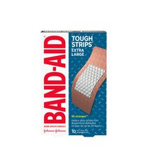BAND-AID® Brand TOUGH-STRIPS® Adhesive Bandages for Wound Care, Durable Protection for Minor Cuts and Scrapes, Extra Large Size, 10 ct