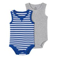 George baby Boys' Tank Bodysuits; 2-Pack Blue & Grey 18-24 months