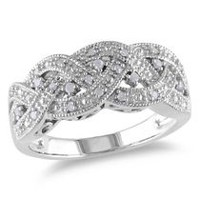 Miabella 0.13 Carat T.W. Diamond Sterling Silver Braid Ring 7