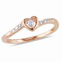 Miabella Diamond Accent Pink Rhodium Plated Sterling Silver Heart-Shaped Promise Ring 6