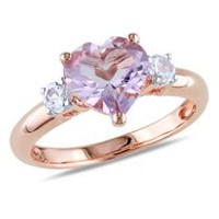 Tangelo 2 Carat T.G.W. Rose de France and Created White Sapphire Pink Rhodium Plated Sterling Silver Heart Ring 6