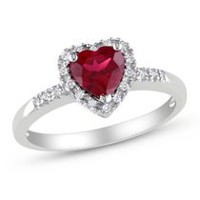 Tangelo 1 Carat T.G.W. Created Ruby and 0.10 Carat T.W. Diamond Sterling Silver Heart Ring 7