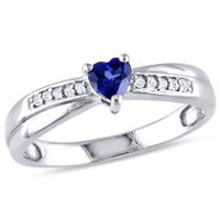 Tangelo 0.25 Carat T.G.W. Heart-Cut Created Blue Sapphire and Diamond Accent Sterling Silver Engagement Ring 9.5