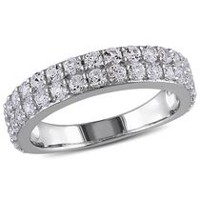 Miabella 1.50 Carat T.G.W. Created White Sapphire Sterling Silver Double-Row Semi-Eternity Ring 8.5