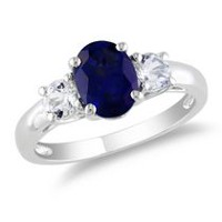 Tangelo 2.63 Carat T.G.W. Oval and Round-Cut Created Blue and White Sapphire Sterling Silver Three-Stone Engagement Ring 6