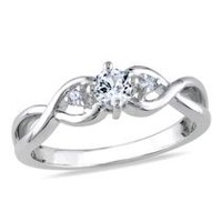 Miabella 0.33 Carat T.G.W. Created White Sapphire and Diamond Accent Sterling Silver Infinity Engagement Ring 7