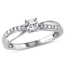 Miabella 0.33 Carat T.G.W. Created White Sapphire and Diamond Accent Sterling Silver Cross-Over Engagement Ring 4.5