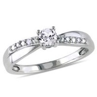 Miabella 0.33 Carat T.G.W. Created White Sapphire and Diamond Accent Sterling Silver Cross-Over Engagement Ring 7