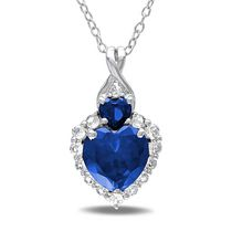 Tangelo 2.88 Carat T.G.W. Created Blue and White Sapphire and Diamond Accent Sterling Silver Heart Pendant; 18""
