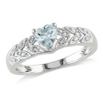 Tangelo 0.33 Carat T.G.W. Heart-Cut Aquamarine and Diamond Accent Sterling Silver Fashion Ring 6.5