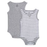 George baby Boys' Tank Bodysuits, 2-Pack Grey 6-12 months