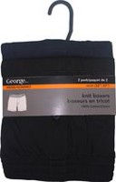 George Men's Knit Boxer Shorts - Pack of 2 Black S