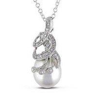 Miabella 10.10.5mm White Rice Cultured Freshwater Pearl and Diamond-Accent Sterling Silver Milgrain Design Pendant; 18""