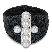 Miadora 9-10mm White Round Cultured Freshwater Pearl Sterling Silver and Leather Bangle, 7""