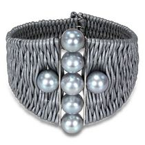 Miadora 9-10mm Grey Round Cultured Freshwater Pearl Sterling Silver and Leather Bangle, 7""