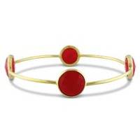 Tangelo 16 Carat T.G.W. Synthetic Carnelian Brass Bangle; 8""