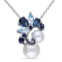 Tangelo 7-7.5mm White Round Cultured Freshwater Pearl and 2.75 Carat T.G.W. Sky and London Blue Topaz with Sapphire Sterling Silver Fashion Pendant; 18""