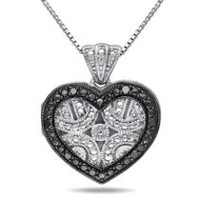 Black Diamond-Accent Sterling Silver Heart Locket Pendant; 18""