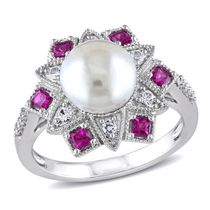 Tangelo 9-9.5mm White Button Cultured Freshwater Pearl with 0.50 Carat T.G.W. Created Ruby; Created White Sapphire and Diamond-Accent Sterling Silver Fashion Ring 5