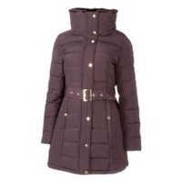 George Women's Belted Puffer Jacket Purple XS