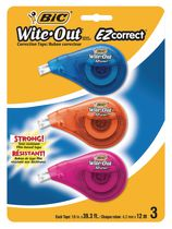 BIC Wite-Out Brand EZ Correct Correction Tape, White, 3-Count, Applies Dry for Instant Corrections