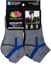 Fruit of the Loom Boys 6 Pack Sport Large Grey Ankle